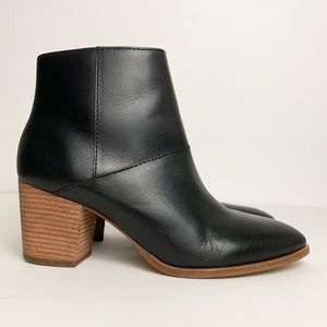 Madewell The Rosie Block Heel Booties Leather